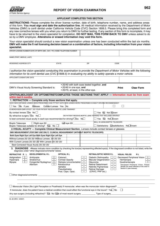 Form Dl 62 - Report Of Vision Exam Printable pdf