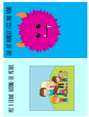 Family And Monster Game Card Template For Kids