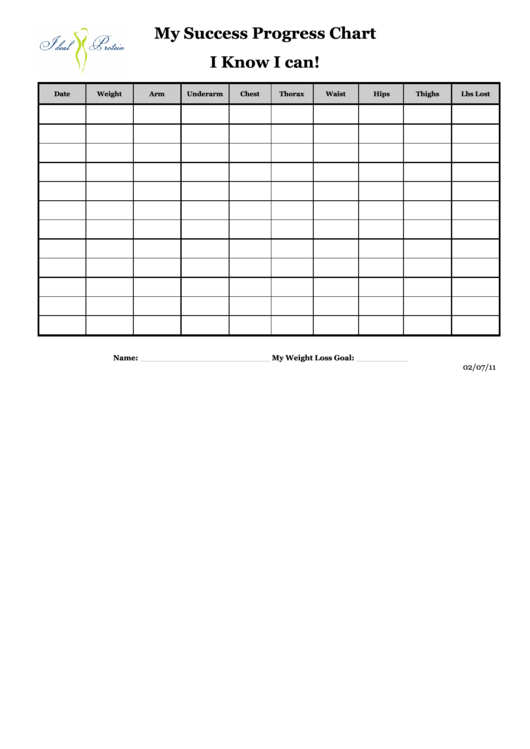My Success Progress Chart I Know I Can - Erichsen Wellness Printable pdf