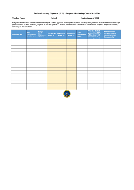 image relating to Progress Monitoring Charts Printable known as Fillable Scholar Finding out Function (Slo) - Improvements