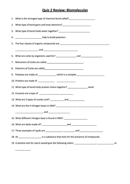 Quiz 2 Review Biomolecules Chemistry Worksheets Printable Pdf Download