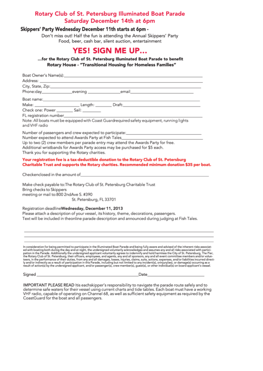 Sign Up Form - Rotary Club Of St. Petersburg Illuminated Boat Parade Printable pdf