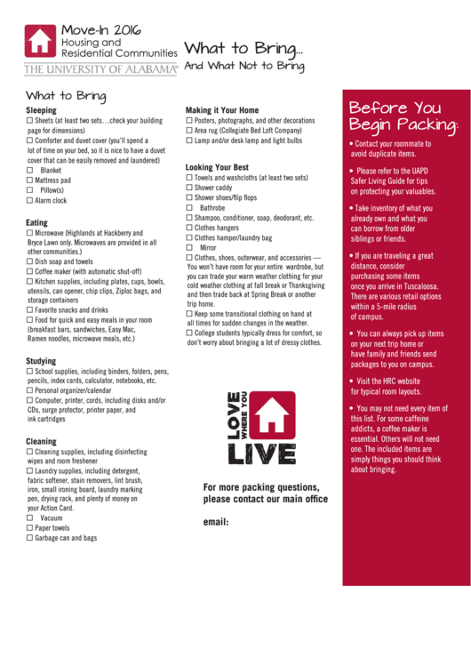 Move-in - Moving Checklist