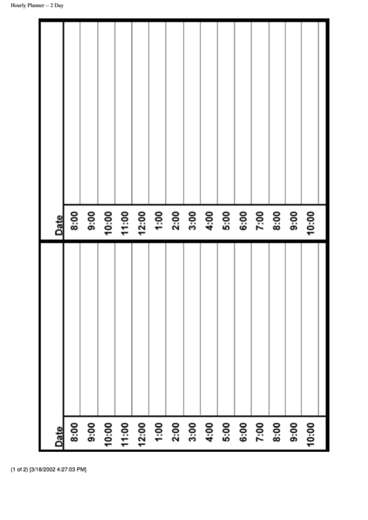 2 Day Hourly Planner Template