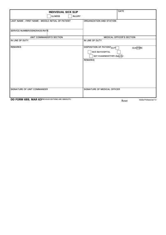 Dd Form 689, Individual Sick Slip, March 1963 - Glwach printable ...