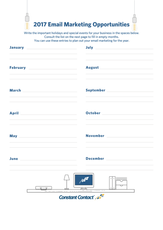 2017 Email Marketing Holiday Schedule Template