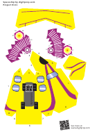 Yellow / Purple Spaceship Paper Craft Template