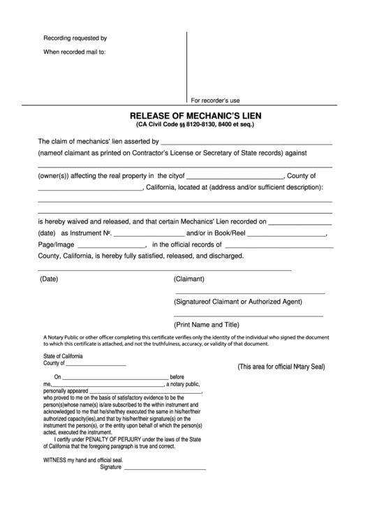 release of mechanic u0026 39 s lien printable pdf download