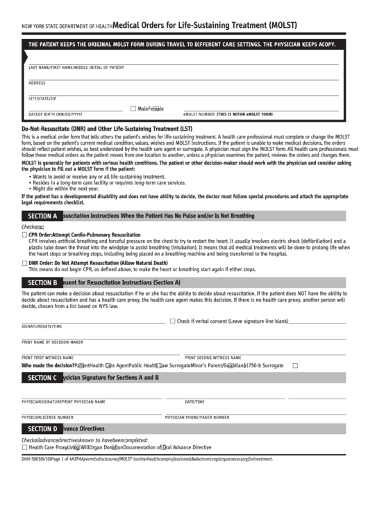 Form Doh-5003 - Medical Orders For Life-sustaining Treatment (molst) - New York State Department Of Health
