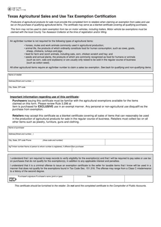 tax form texas exemption sales agricultural certification pdf printable fillable