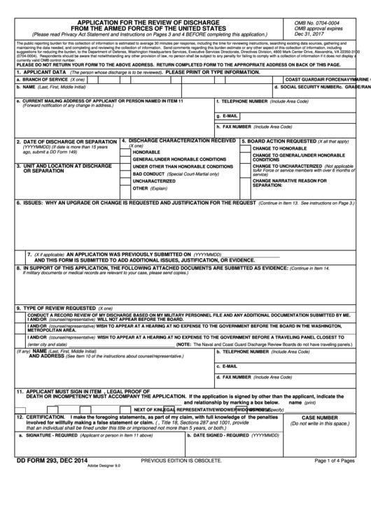 Dd Form 293 - Application For The Review Of Discharge printable ...