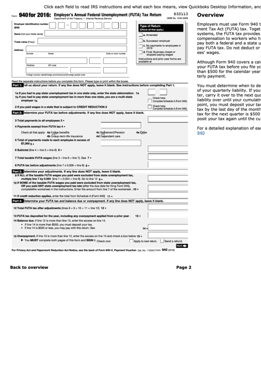 940 Form Instructions For Form 940 Employers Annual Federal