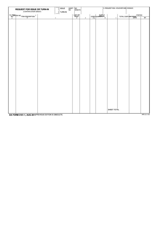Fillable Da Form 3161-1 Request For Issue Or Turn-In (Continuation Sheet) - Apd Printable pdf