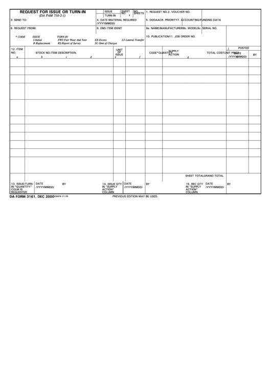 Da Form 3161, Request For Issue Or Turn-In Printable pdf