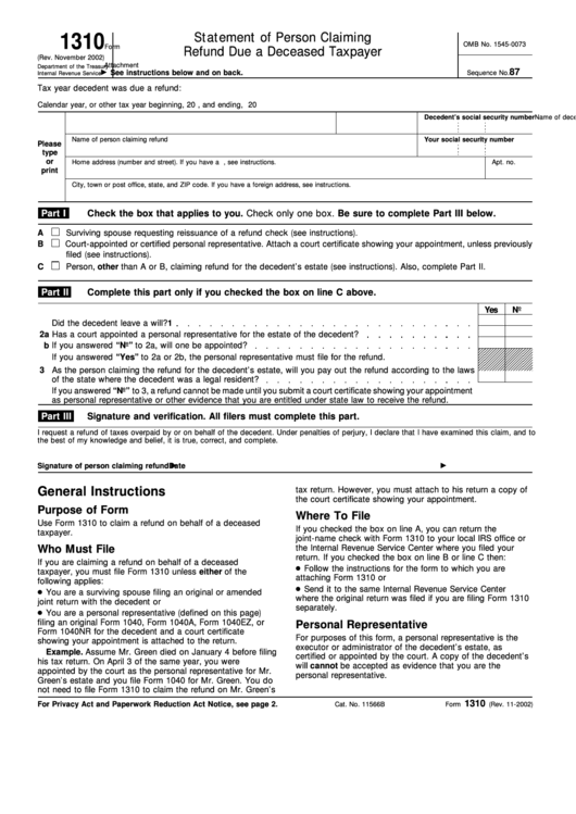 Smart image intended for irs form 1310 printable