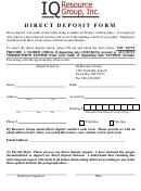 Direct Deposit Form - Iq Resource Group