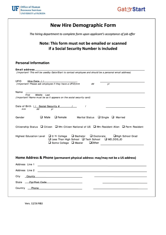 New Hire Demographic Form - Stephen C. O'connell Center