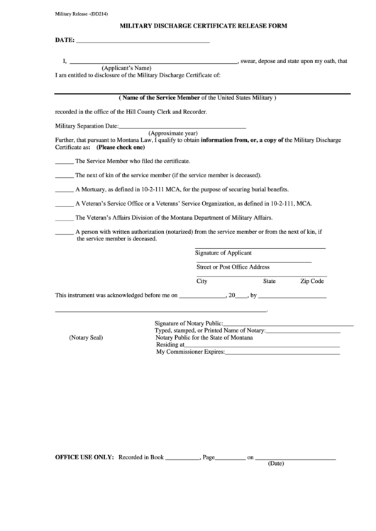 Military Release -(Dd214) - Military Discharge Certificate Release Form Printable pdf