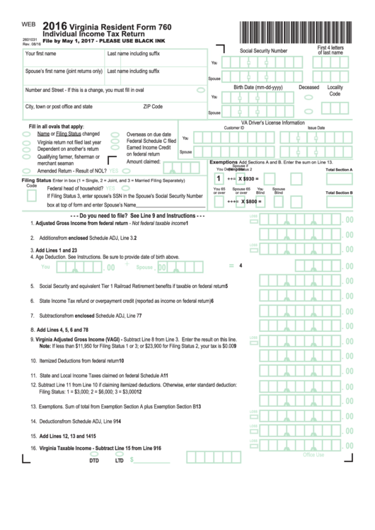 Virginia State Tax >> Fillable Form 760 - Virginia Resident Individual Income Tax Return - 2016 printable pdf download