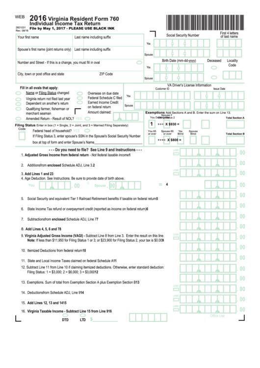 Form 760 Instructions Virginia Tax Akrossfo