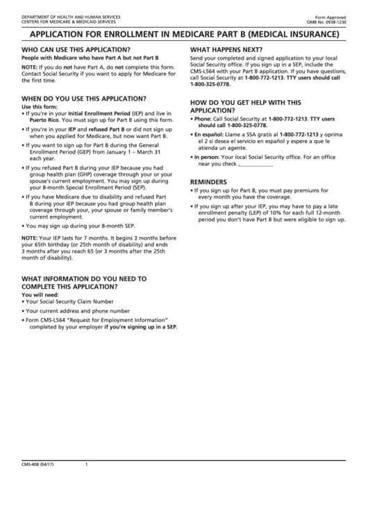 Application For Enrollment In Medicare Part B (medical Insurance) - Cms