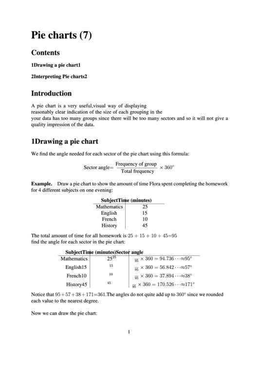 Pie Chart Worksheet Template