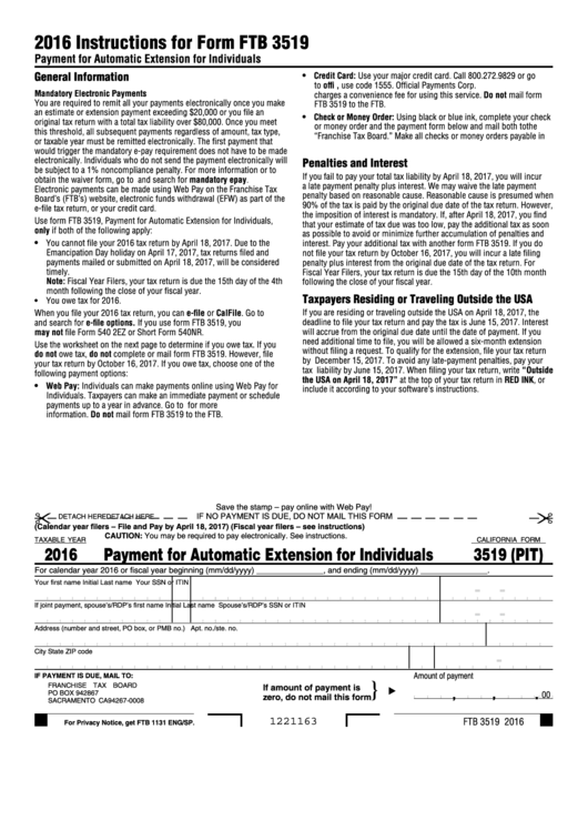 California Form 3519 (Pit) - Payment For Automatic Extension For Individuals - 2016 Printable pdf