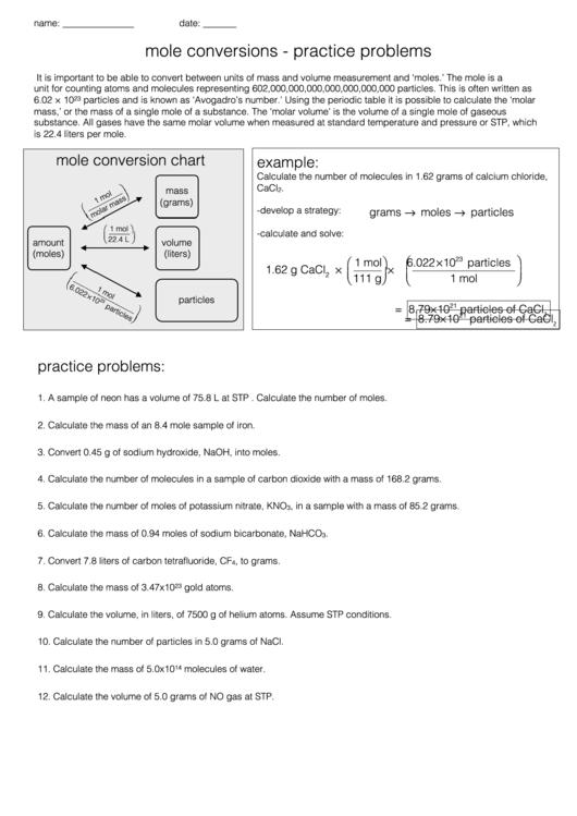 Mole Conversions - Practice Problems printable pdf download