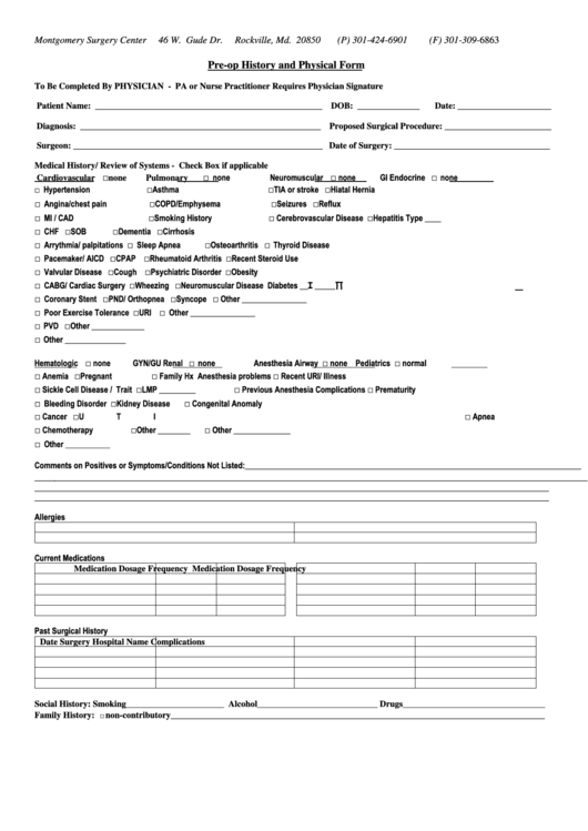 top general physical form templates free to download in