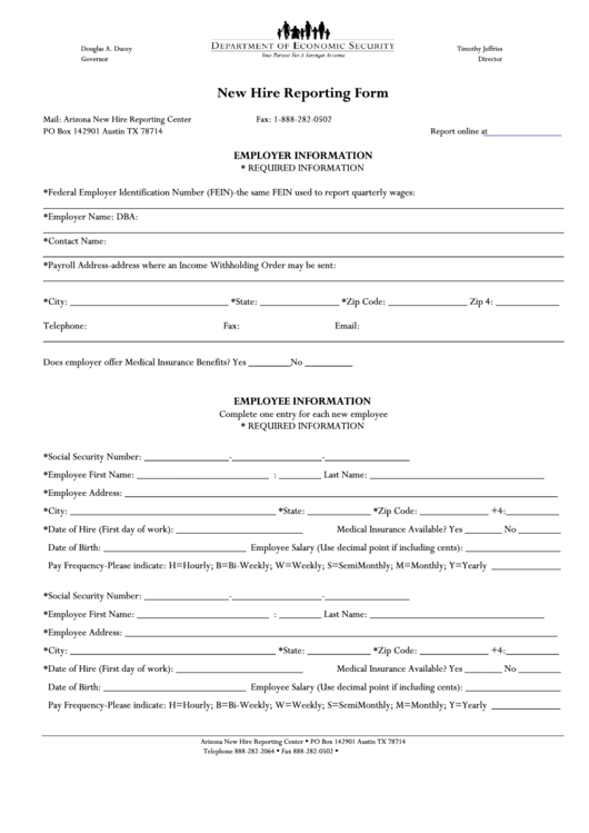 arizona new hire reporting form printable pdf download