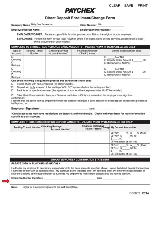 Form Dp0002 - Direct Deposit Enrollment/change Form