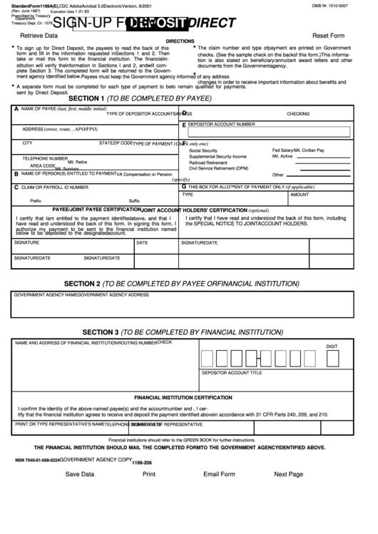 Standard Form 1199a Direct Deposit Sign Up Form Printable Pdf Download