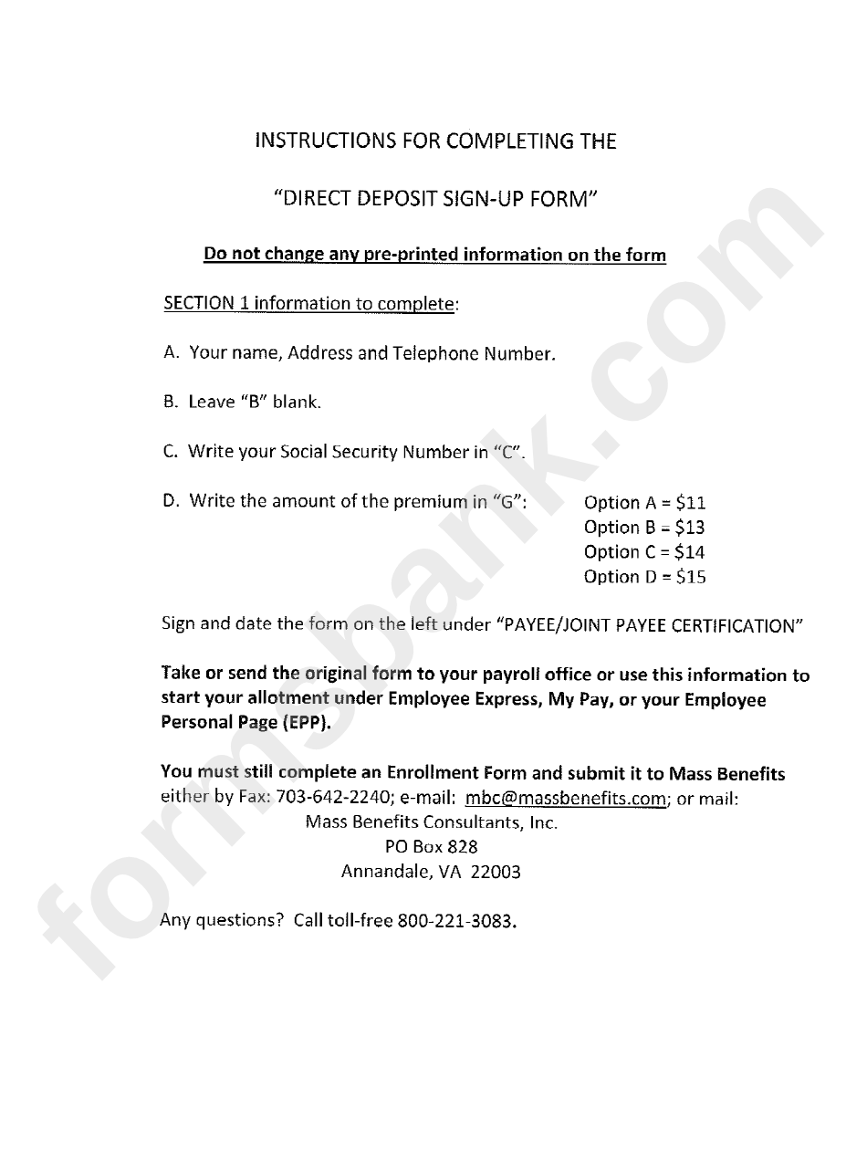 Direct Deposit Sign-Up Form - Career Guard