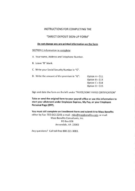 Direct Deposit Sign-Up Form - Career Guard Printable pdf