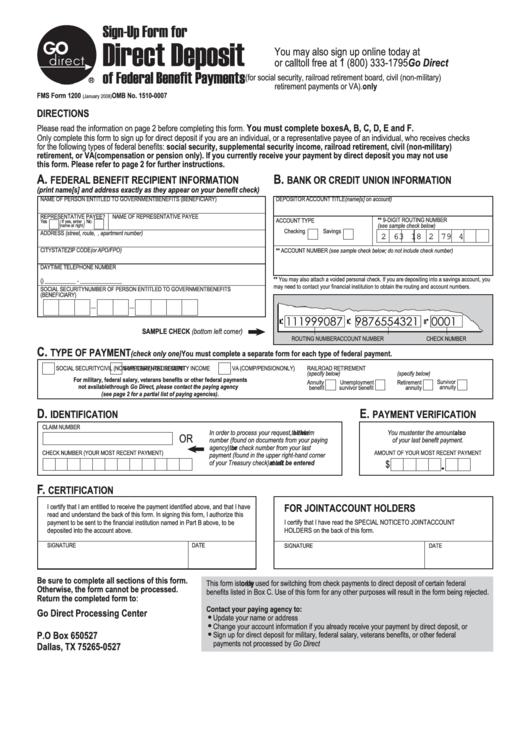 Fillable Direct Deposit Sign Up Form - Gte Financial Printable pdf