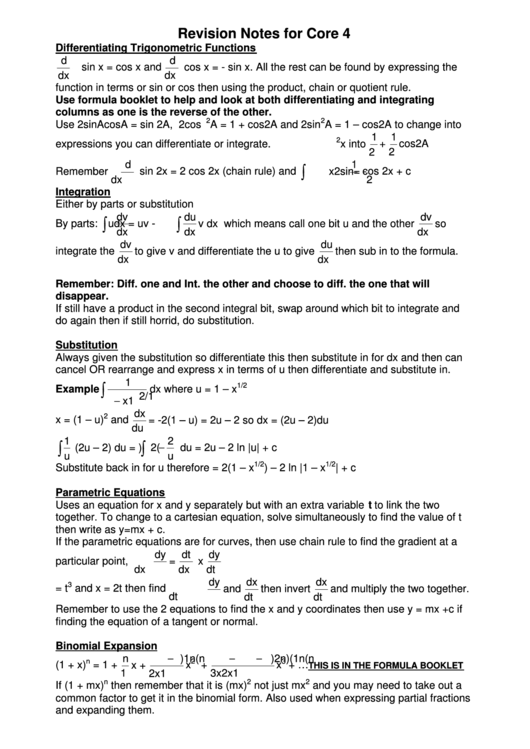 Revision Notes For Core