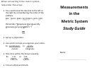 Measurements In The Metric System Study Guide
