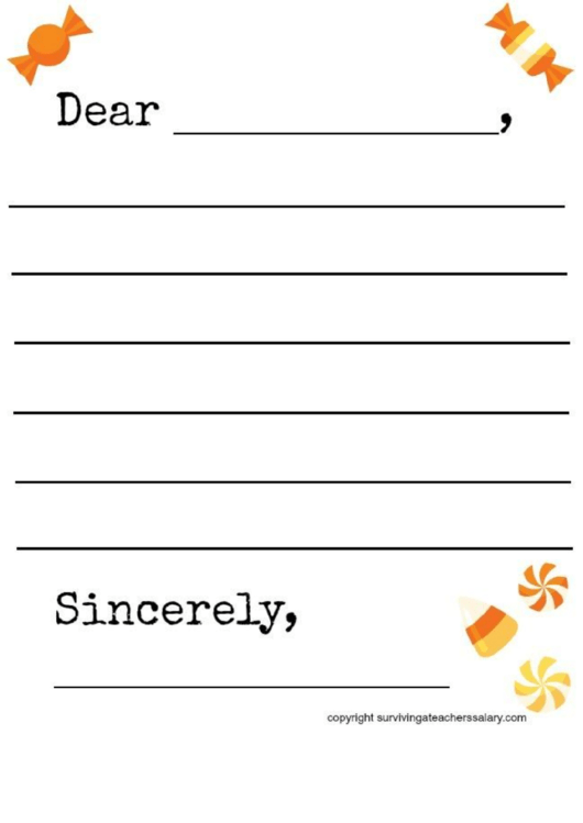 Fall Candy-Themed Letter Template Printable pdf