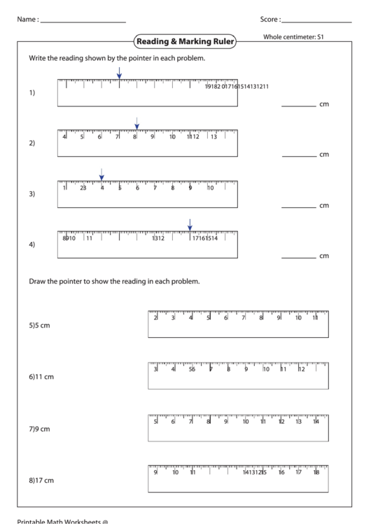 Reading Marking Ruler Worksheet Printable Pdf Download