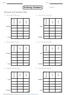 Ordering Numbers Worksheet