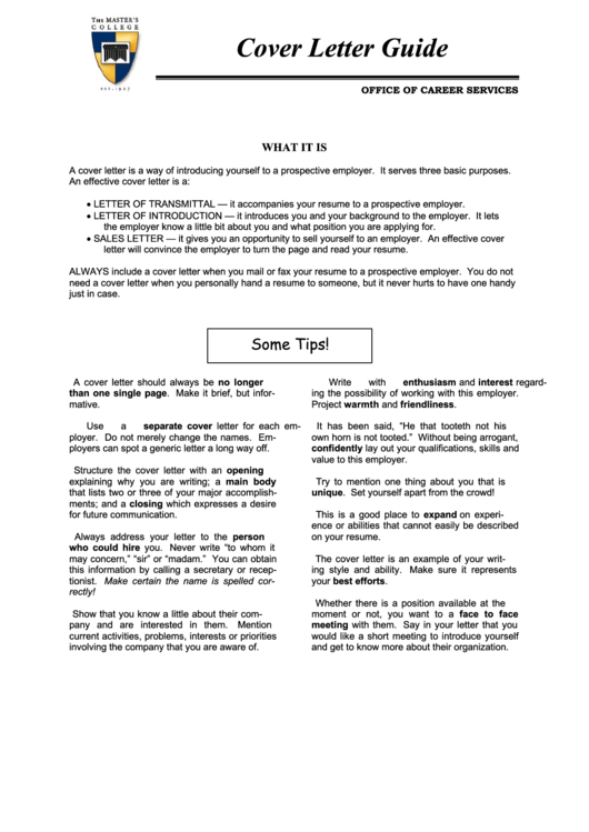 Cover Letter Guide Printable pdf