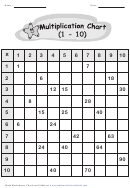 Multiplication Chart 1-10 - B/w Star