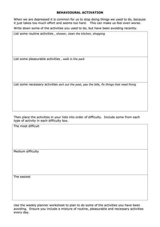 Behavioural Activation Worksheet Printable Pdf Download