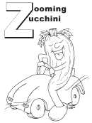 Zooming Zucchini Letter Z Template