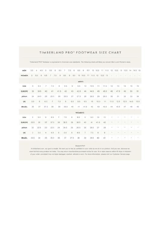 Timberland Pro Footwear Sizing Chart