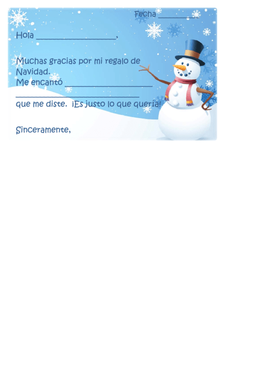 Christmas Thank You Letter Template (spanish)