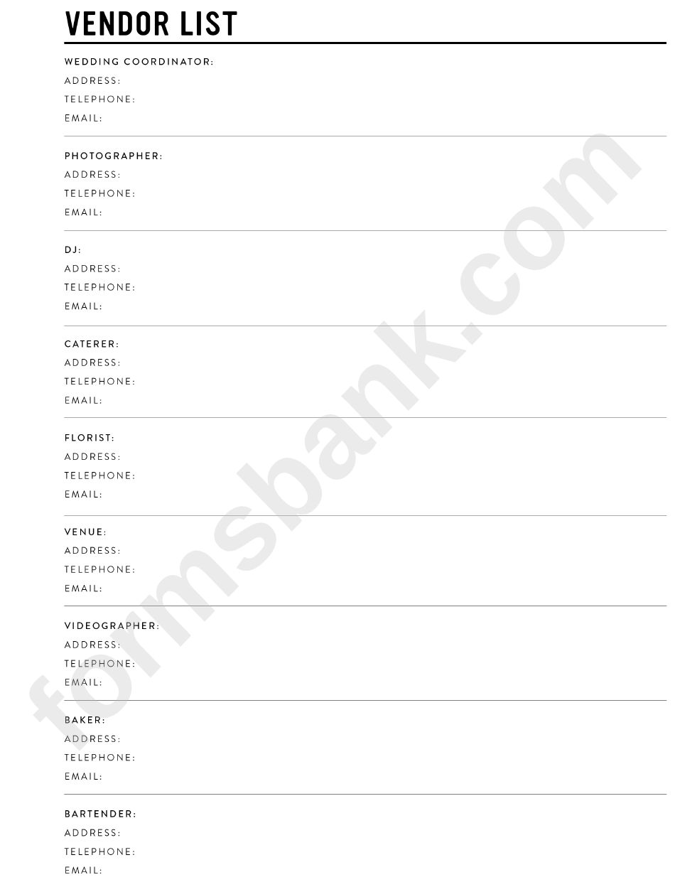 wedding vendor list printable pdf download