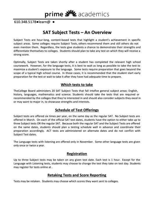 Sat Subject Tests printable pdf download