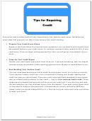 Tips For Repairing Credit