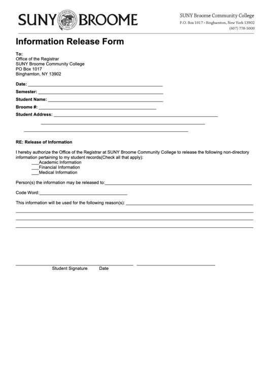 Information Release Form - Broome Community College Printable pdf
